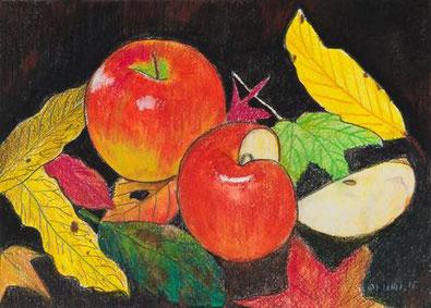「りんごとおちば」水彩