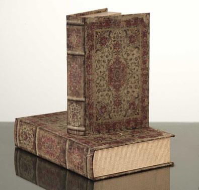 Set de 2 caja libro de madera con encuadernación de tela