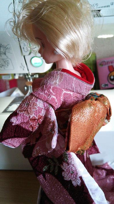 Sサイズの舞妓着物の試作。本格的な造りに見えて着せやすく簡略化します!