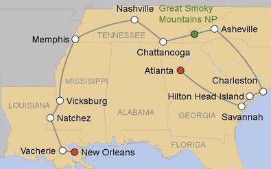 Mietwagenrundreise Südstaaten USA