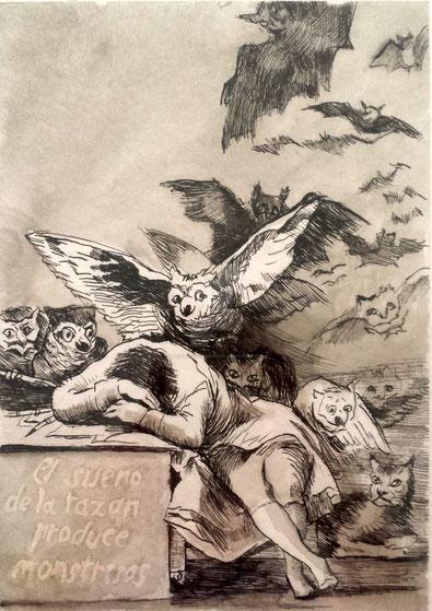 """Francisco Goya, """"Il sonno della ragione genera mostri"""" (1797)"""