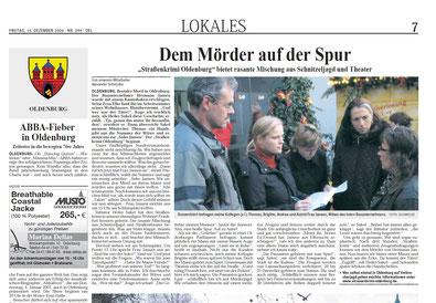 """Zeitungsartikel des Weser-Kurier vom 15.12.2006: """"Dem Mörder auf der Spur"""" -  Quelle: """"Weser-Kurier, Bremen"""""""