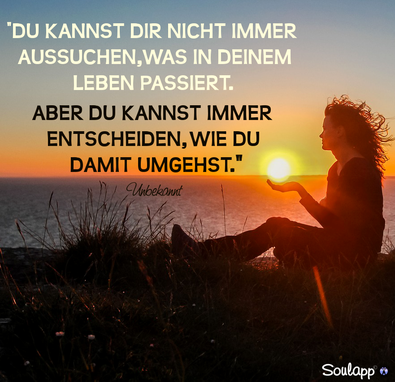Bild: Frau im Sonnenuntergang mit Text