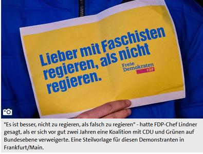 """Scrennshot-Plakat """"Lieber mit Faschisten regieren, als nicht regieren. FDP"""""""