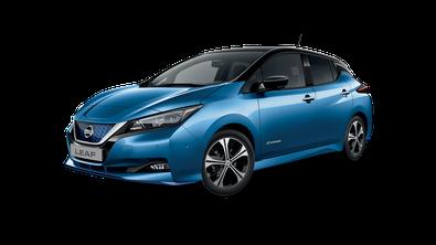 Nissan Leaf bleu topaze toit, rétros et montants noirs 2019