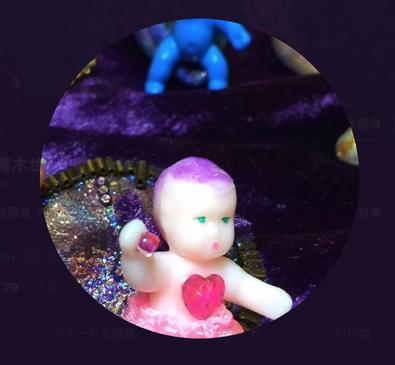 青木せい子Twitterプロフ画像。宇宙人ベビーちゃんの写真