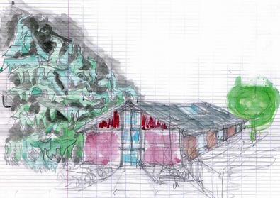 dessin à main levée du projet de transformation de l'entrepôt en maison de santé.