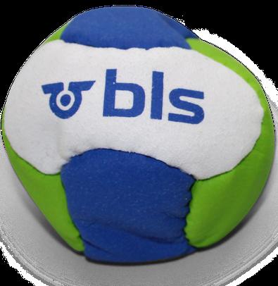 Mit Logo bedruckte Footbags. Bedruckt von jonglierbälle.ch.