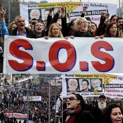 Lokal protest imod den canadisk-ejede koncern Hellenic Gold