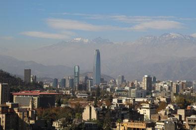 Vue sur les Andes depuis le Cerro Santa Lucia