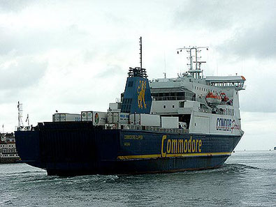 Commodore Clipper leaving Portsmouth bound to the Channel Islands.