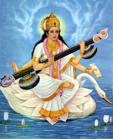 "The Sanskrit word sara means ""essence"" and swa means ""self."" Thus Saraswati means ""the essence of the self."""