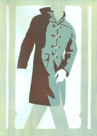 Mantelformen, Mantel Lexikon: Zeichnung eines klassischen Dufflecoats oder Montgomery mit Beschriftung der Merkmale