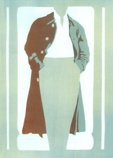 Mantelformen, Mantel Lexikon: Zeichnung eines beispielhaften Lodenmantels mit Kellerfalte im Rücken, Beschriftung der Details