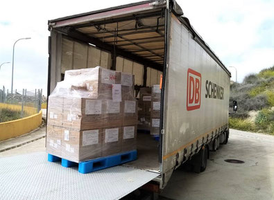 Arrival of the face masks in Spain – image courtesy of DB Schenker