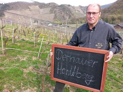 """Das Weingut Reinhold Riske hat auch Rebstöcke in der Weinbergslage """"Dernauer Hardtberg"""" stehen."""