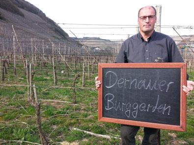"""Weingut Reinhold Riske und der """"Dernauer Burggarten""""."""