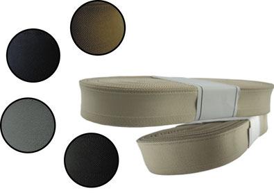 Herrenschweißband rundgewebt, 30 mm Breite. Farben: schwarz und beige. Blau und braun in 36mm Breite
