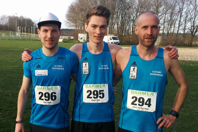 Unser Männer-Team bei der DM: Felix Thum, Simon Stolz und Sedric Steffen Haus