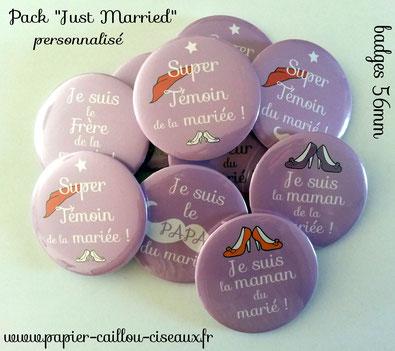 Pack badges invités mariage personnalisés