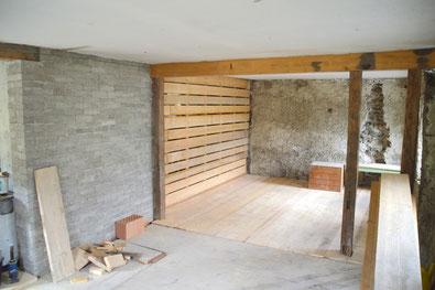 Fußboden und Wand neu