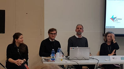 "Anna Litvinenko, Andrei Zavadski, Jonas Harvard and Maria Inácia Rezola (participants of the panel ""Media and memory construction""), ECREA 2018. Photo by Svetlana Bodrunova"