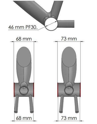 Boitier PF30 messures du cadre seul.