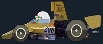Lella Lombardi By Muneta & Cerracín - Lella pilotando unLola T330 - Chevrolet 'HU18', en la Race of Champions, en el circuito de Brands Hatchen 1974.