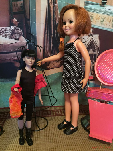 """18"""" Crissy Doll and Agnes Dreary doll, with an American Girl salon chair"""