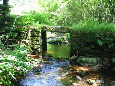 pont de pierres plates proche de Clédat, correze, village abandonné, visite, randos, VTT, dos d'ânes, Cheval, fête des roses, cocquelicontes, fête du pain, maquis,