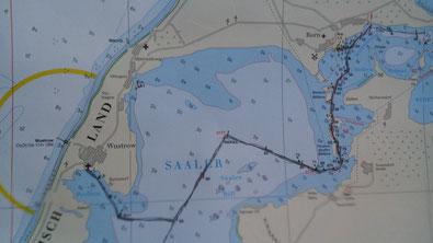 Karte Fischland-Darß-Zingst Wasserwandern Boot fahren
