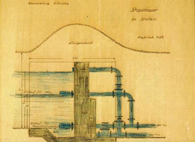 """Staumauer der Quellfassung im """"Stollen oberhalb des Weihers""""  (Gemeindearchiv Wenden: Akten B 512)"""
