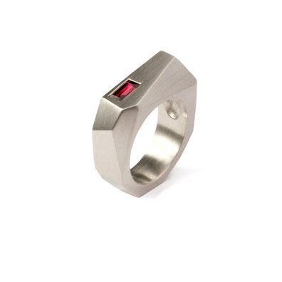 Asymmetrische Cocktailring - Roter Turmalin, Silber