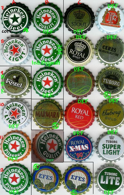 European beer caps, row 7-12.