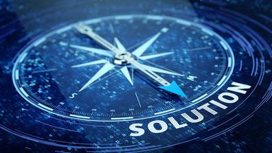 """Boussole avec le mot """"solution"""" écrit sous celle-ci"""