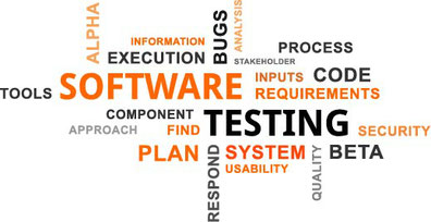 Word cloud: Large to small- Software, Testing, Plan, System, Beta, code, bugs, Execution, Process, Requirements, Alpha, Tools, respond, Information, Usability, quality, find, approach, analysis, stakeholder, component