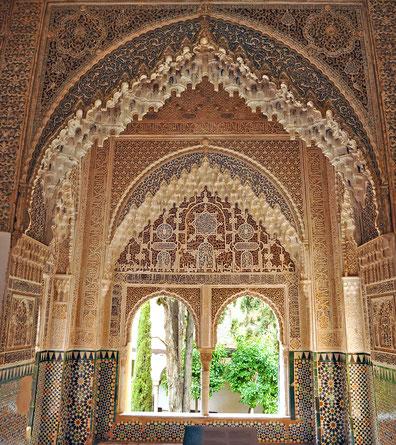 世界遺産「グラナダのアルハンブラ、ヘネラリーフェ、アルバイシン地区(スペイン)」、アルハンブラ宮殿のナスル朝宮殿・ライオン宮、リンダラハのバルコニー
