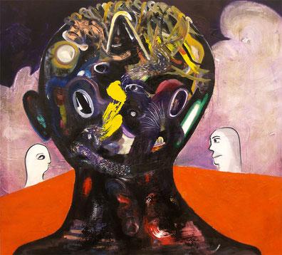 too far, 2019, mixed media on canvas, 100 x 100 cm