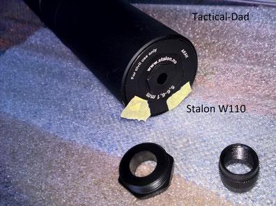 Stalon W110 Schalldämpfer. Das hier ist das, dem Kaliber angepasste, Frontstück. Unter dem Kleber ist die Seriennummer.