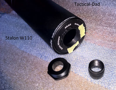 Heckteil des Stalon W110. Das sichtbare Gewinde ist nur für den Zentrierring vorne links. Die Aufnahme für das Mündungsgewinde ist in der Mitte des Dämpfers.