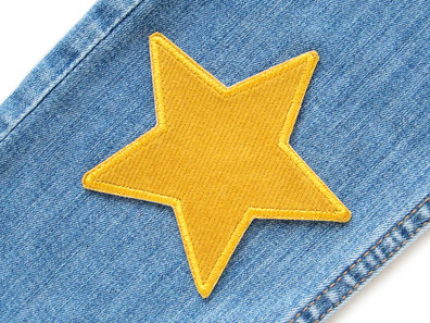 Bild: Stern Cord senf gelb Cordflicken Aufnäher Bügelflicken