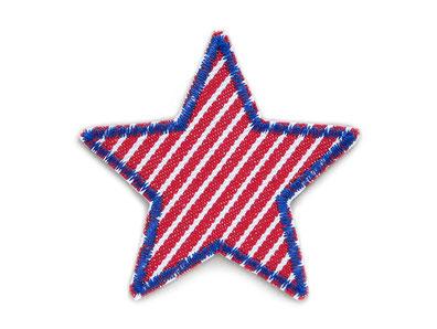 !B: robuster Jeansflicken Stern rot weiß gestreift als Bügelflicken