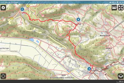 Wanderplan Meiringen Hohfluh - Brünigpass