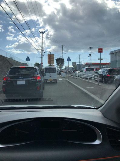 地震当日のホーマック周辺 渋滞の様子