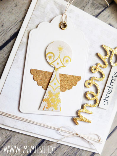 Christmas Card Angel Handmade Diy, Weihnachtskarte Engel selber basteln, Papier Engel basteln, Weihnachtskarte Engel, Lawn Fawn Die Merry, LAwn Fawn Stanze merry