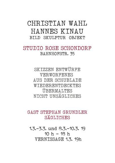 Christian Wahl | Hannes Kinau - Künstler Ausstellung im Studio Rose in Schondorf