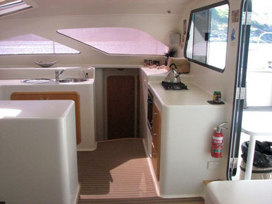 Galley arrangment on catamaran Soul