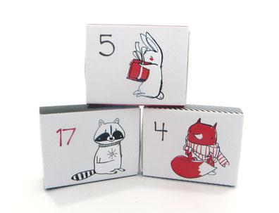 Adventskalender Weihnachtskalender Schachteln Pappe Papier Unisex Mädchen Jungen Frauen Männer Mann Frau Fuchs Hase Elch Reh