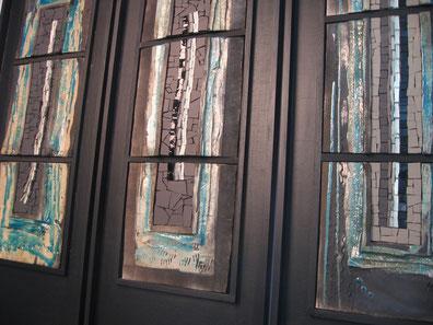tableaux rakus incrustés de mosaique, theme eau et lumiere