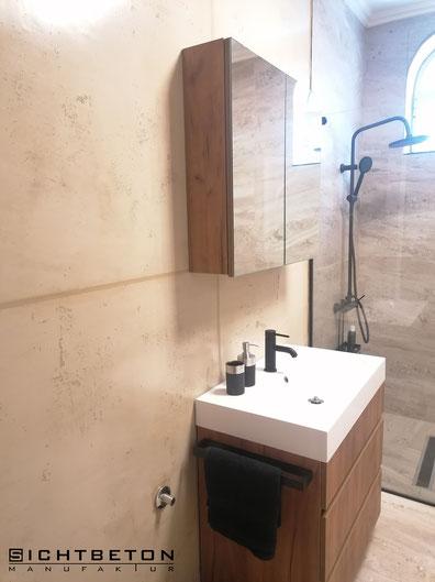Betonoptik, Sichtbeton in Dusche und Nassbereich